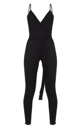 Black Strappy Jersey Wrap Tie Waist Jumpsuit | PrettyLittleThing