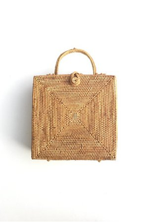 ASHLEY SUMMER CO brown Square Woven Rattan Bag