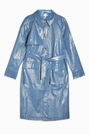 Blue Faux Croc Vinyl Trench Coat   Topshop