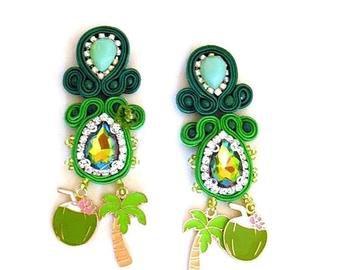 Tropical green emerald statement earrings