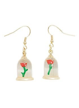 Beauty and the Beast Enchanted Rose Earrings