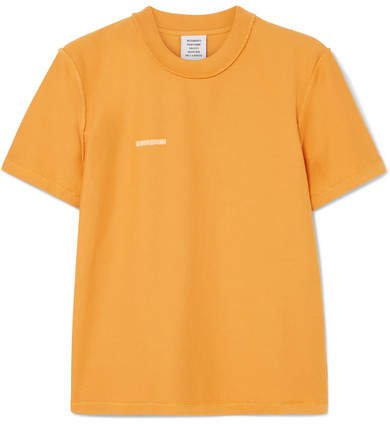 Embroidered Cotton-jersey T-shirt - Yellow
