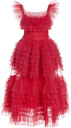 Molly Goddard Pascale Ruffled Tulle Midi Dress