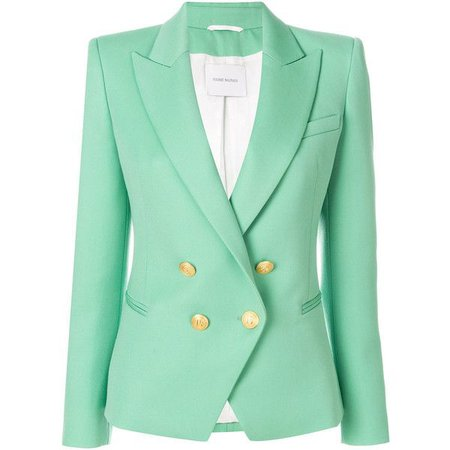 Mint Balmain Blazer with Gold Buttons
