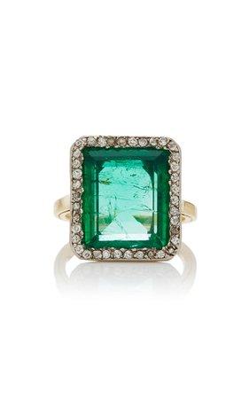 Belle Époque Rectangular-Cut Emerald Ring by Simon Teakle | Moda Operandi