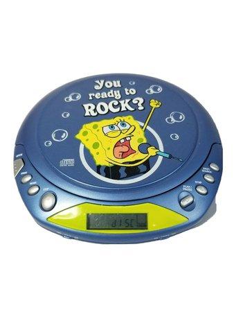 "Spongebob CD Player ""You Ready To Rock?"" Blue SB111 Nickelodeon Vtg 2003 Emerson   eBay"