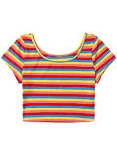 rainbow striped crop top