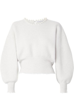 Alexander Wang | Faux pearl-embellished cutout distressed wool-blend sweater | NET-A-PORTER.COM
