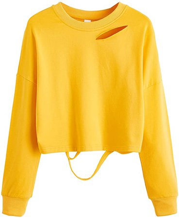SweatyRocks Women's Long Sleeve Crop Tops Distressed Ripped Cut Out Pullover Sweatshirt Mustard L at Amazon Women's Clothing store