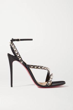 Black Mafaldina Spikes 100 leather sandals | Christian Louboutin | NET-A-PORTER