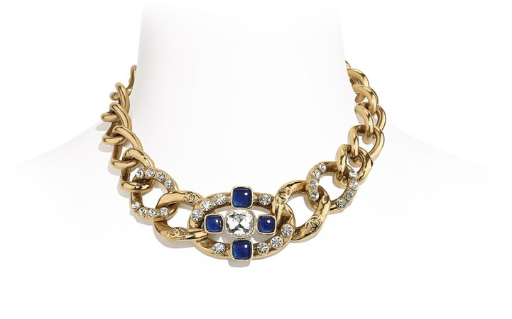 Necklace, metal, crystal and strass, gold, blue and crystal - CHANEL