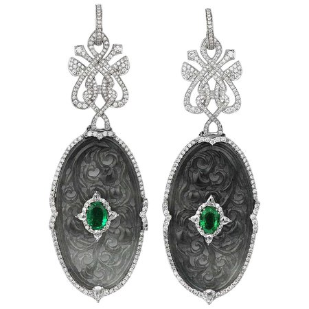 Diamond, Emerald and Curved Jade Drop Earrings/Pendant in 18 Karat White Gold For Sale at 1stDibs