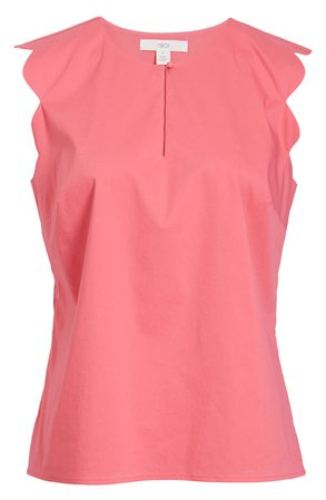 1901 Scallop Edge Stretch Cotton Blend Top (Regular & Petite) | Nordstrom