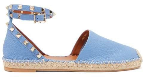 Rockstud Wraparound Strap Leather Espadrille Flats - Womens - Blue