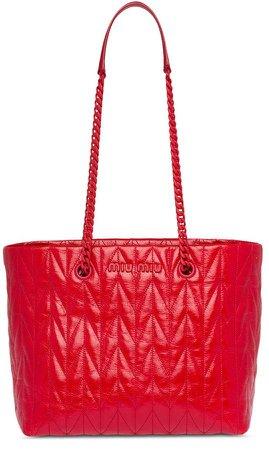 shiny leather tote bag