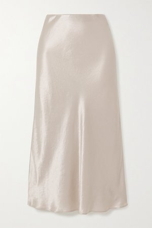 Cream Leisure washed-satin midi skirt | Max Mara | NET-A-PORTER