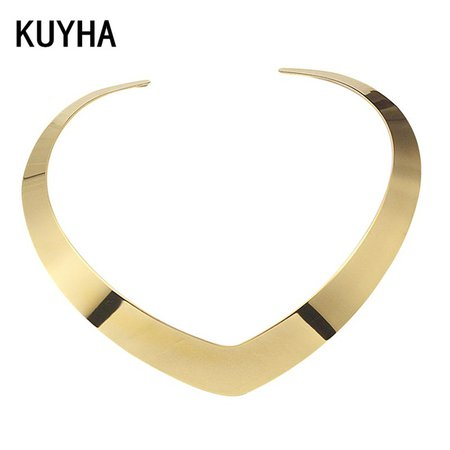 Collar Choker Necklace Neck Jewelry For Women Fashion 100% Stainless Steel Simple Personality Gold Torques Necklace-in Torques from Jewelry & Accessories on Aliexpress.com | Alibaba Group