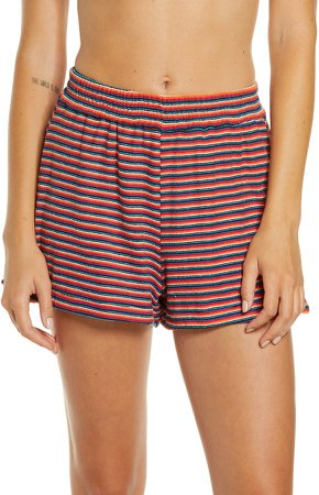 Coco Stripe Terry Cover-Up Shorts