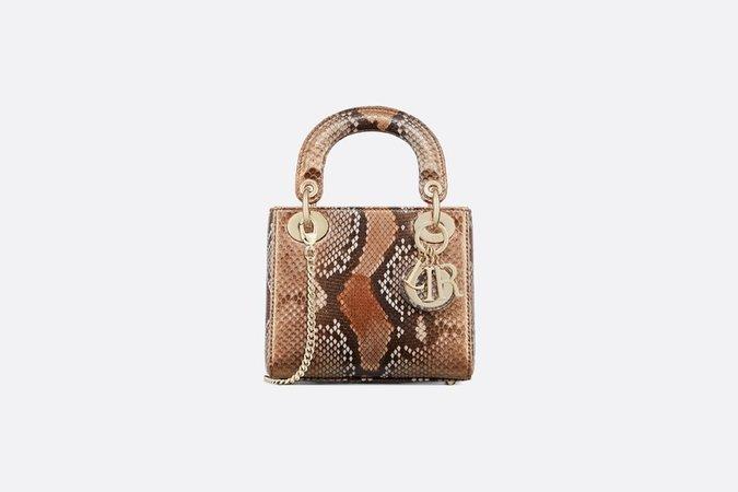 Mini Lady Dior python bag - Bags - Women's Fashion | DIOR