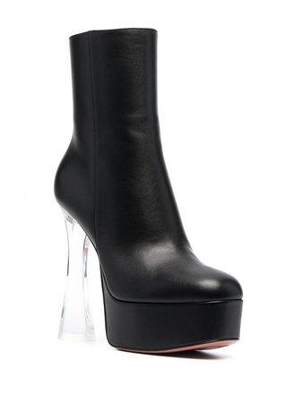 *clipped by @luci-her* black Amina Muaddi Dua Glass boots