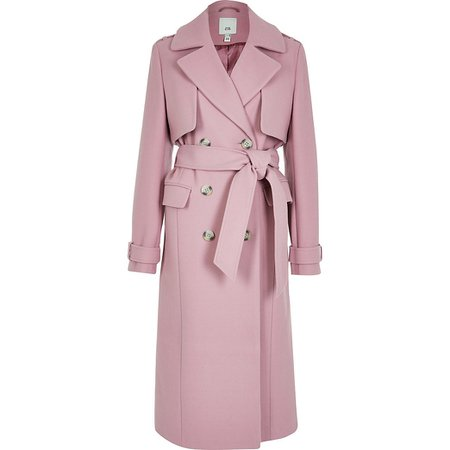 Pink wool longline trench coat | River Island