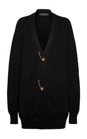 Oversized Safety Pin Wool Cardigan by Versace | Moda Operandi