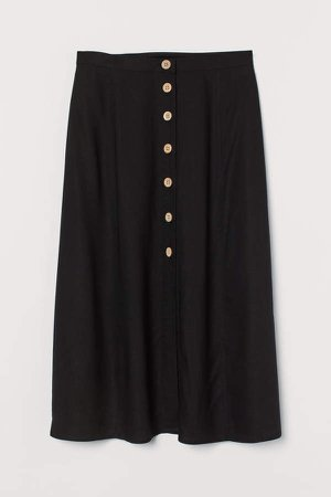 Button-front Skirt - Black