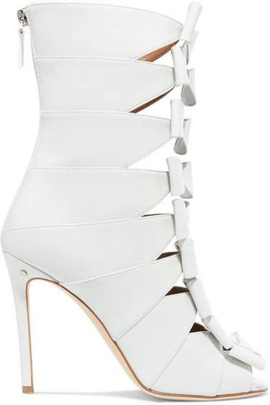 Silda Bow-detailed Cutout Creased-leather Ankle Boots - White