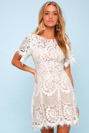 Lovely White Dress - Lace Dress - Short Sleeve Dress - Sheath