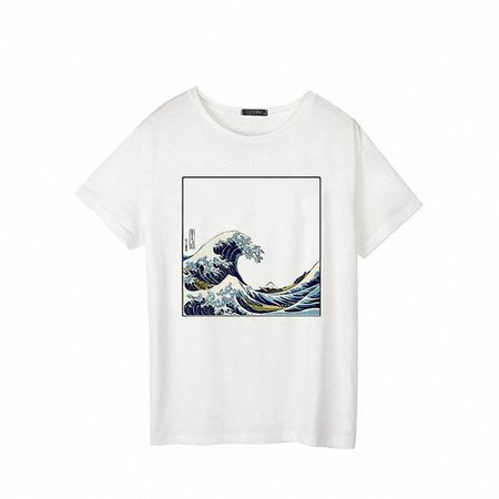 And So It Is Ocean The Great Wave of Aesthetic T Shirt Women Tumblr 90s Fashion Graphic Tee Cute Summer Tops Casual T Shirts-in T-Shirts from Women's Clothing on Aliexpress.com | Alibaba Group
