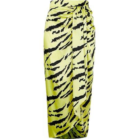 Lime animal print midi skirt | River Island