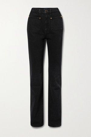 Black Isabella high-rise straight-leg jeans | Khaite | NET-A-PORTER