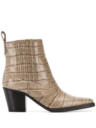 GANNI Embossed Crocodile Effect Ankle Boots - Farfetch