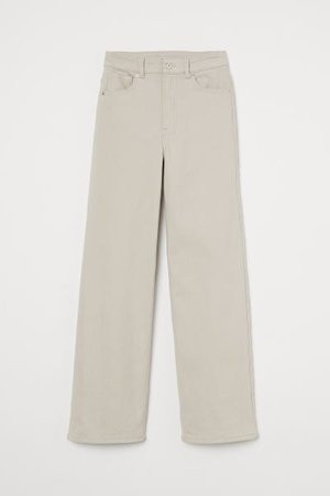 Wide-leg Twill Pants - Light beige - Ladies | H&M US