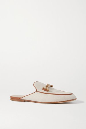 Leather-trimmed Embellished Canvas Slippers - Off-white