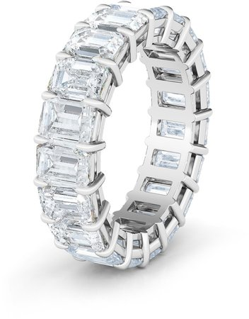 Hautecarat Emerald Cut Lab Created Diamond 18K Gold Eternity Band