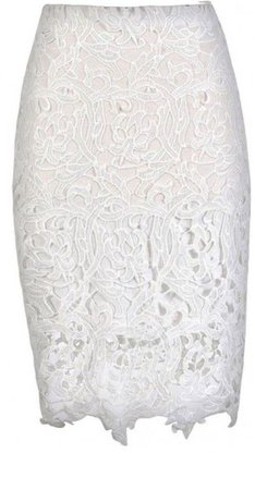 Style & Lace Pencil Skirt in White