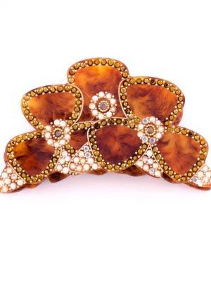 MC Davidian hair clip claw crystals Flowers