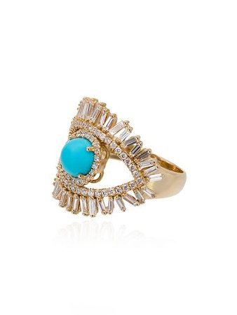 Suzanne Kalan 18kt gold Evil Eye turquoise fireworks ring $4,897 - Buy Online SS19 - Quick Shipping, Price