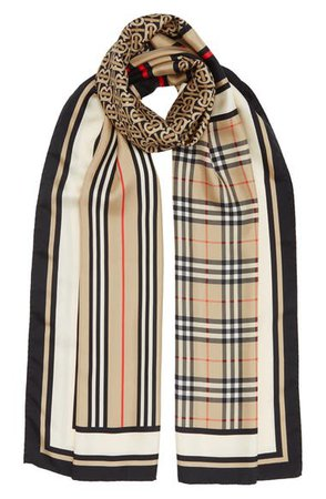 Burberry Monogram, Icon Stripe & Check Print Silk Scarf | Nordstrom
