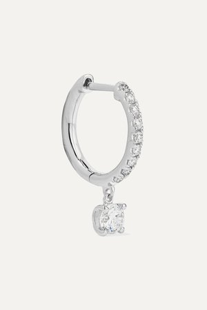 White gold 18-karat white gold diamond hoop earring | Anita Ko | NET-A-PORTER