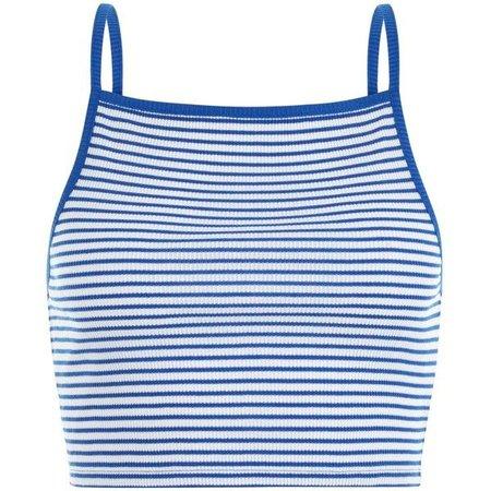 Light Blue & White Striped Crop Top