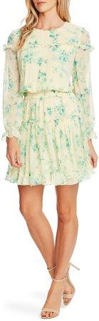 Breezy Bouquet Clip Dot Ruffle Hem Long Sleeve Dress
