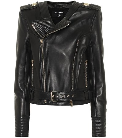 Balmain - Leather biker jacket | Mytheresa