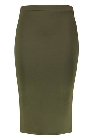 Plus Scuba Midi Skirt | Boohoo green