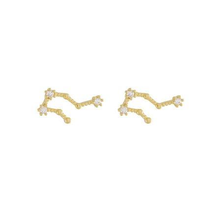 Aquarius Zodiac Gold Earrings – Wanderlust + Co