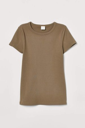 Ribbed Cotton T-shirt - Green