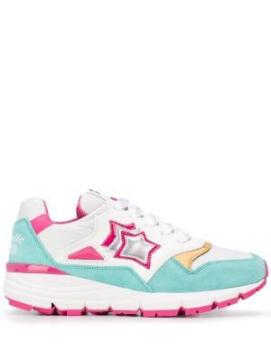 multi colour star patch low top trainer