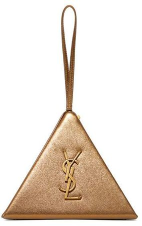 Pyramid Metallic Leather Clutch Bag - Womens - Gold