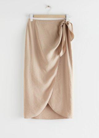 Sarong Wrap Midi Skirt - Beige - Midi skirts - & Other Stories tan